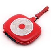 炊大师 28cm双面气压不粘煎锅、烤锅(红色) 不粘锅 电磁炉通用