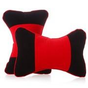 利特尔 高档植绒压花车用头枕/汽车颈枕对装*2个 红黑色