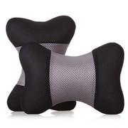 利特尔 三明治舒适透气车用头枕/汽车颈枕对装*2个 灰黑色