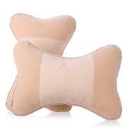 利特尔 高档植绒压花车用头枕/汽车颈枕对装*2个 米色