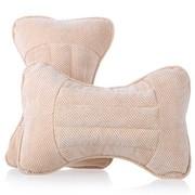 利特尔 四季保健养生玉米绒车用头枕/汽车颈枕对装*2个 米色
