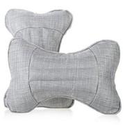利特尔 四季保健养生亚麻车用头枕/汽车颈枕对装*2个 灰色