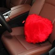 澳世家 100%澳洲原产进口羔羊皮 中长毛心型抱枕 车家两用 大红色(