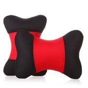 利特尔 三明治舒适透气车用头枕/汽车颈枕对装*2个 红黑色