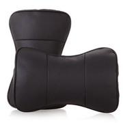 利特尔 高档真皮打孔汽车护颈枕/车用头枕对装*2个 黑色