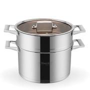 其他 兴财26cm优雅不锈钢二层多用复底蒸锅 煤气电磁炉适用