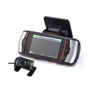 吉斯卡 双镜头宽屏现场高清回放 车载行车记录仪 16:9 带后视录影 标配+8G