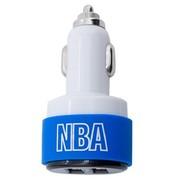 NBA {}专业车载充电器 双USB输出 3插头 2100毫安 蓝色