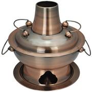 天科 28cm彷红铜不锈钢木炭火锅 老式经典加厚家用酒店餐厅 传统火锅炉