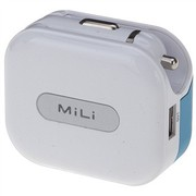 MiLi HC-U20 Universal Charger 1A车充+AC座充二合一多功能充电器 白色