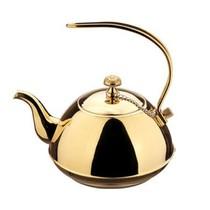 仁品 【货到付款】/不锈钢茶壶 冷水壶 咖啡壶 带网隔 时尚泡茶壶 高档茶壶 可上电磁炉弯手 1.0L原色产品图片主图