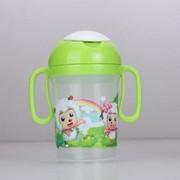 迪士尼 喜羊羊与灰太狼 手挽吸管杯400ml儿童水杯 3色可选 绿色喜羊羊
