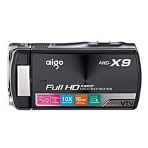 爱国者 AHD-X9 数码摄像机 黑色(500万像素 10倍光变 双镜头画中画 1080P 3英寸触控屏 遥控拍摄)产品图片主图