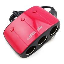 先科 T11点烟器一分三车载电源 独立开关双USB车载充电器 一拖三点烟器车充 红色产品图片主图