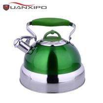 其他 HUANXIPO 德国不锈钢烧水壶5L大容量加厚复底彩色煮水壶鸣笛燃气电磁炉通用 青绿色产品图片主图