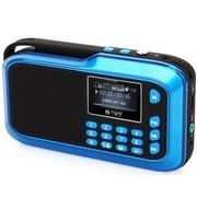 不见不散 LV390 便携插卡音响 插卡收音机 迷你小音箱 MP3老人播放器 水晶蓝