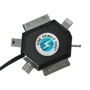 其它 科尼雅(KONIYA)iphone车载充电器 苹果 三星 小米 华为手机充电器 配六合一线 蓝色 闪电车充Logo
