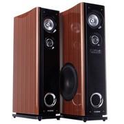 现代 HY-318-56 2.0有源音箱 家庭影院家用式音箱 USB/双无线话筒/单4寸中音 (棕色)