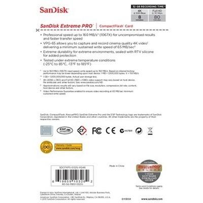 闪迪 CF存储卡 Extreme Pro至尊超极速 32G-160MB/s产品图片4