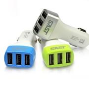 先科 T07车载充电器 三USB口车载手机充电器3.1A 苹果iPhone iPad适用 蓝色