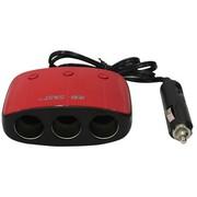 先科 带开关一拖三点烟器插头 AY-T11 带USB车充一拖三 汽车点烟器一分三 红色