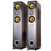 现代 HY-318-66 2.0有源对箱 家庭影院/落地式/家用对箱/USB/双无线话筒(棕色)