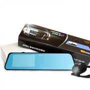 达维 高清广角夜视 双镜头 倒车影像可视 4.3寸后视镜行车记录仪 超值版
