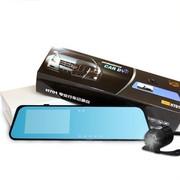 达维 高清广角夜视 双镜头 倒车影像可视 4.3寸后视镜行车记录仪 睿智版