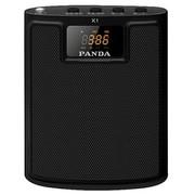 熊猫 K1 便携插卡收音扩音器老年人唱戏广场舞音箱大功率教师教学导游腰挂MP3无线扩音机(黑色)