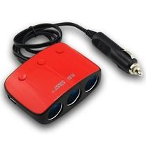 先科 AY-T11 带开关一拖三点烟器 汽车双USB一分三电源转换器 电源分配器 车载充电器 单独一拖三红色产品图片主图