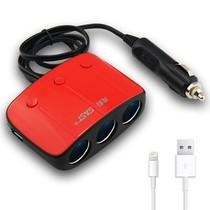 先科 AY-T11 带开关一拖三点烟器 汽车双USB一分三电源转换器 电源分配器 车载充电器 红色+苹果5充电线产品图片主图