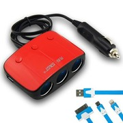 先科 AY-T11 带开关一拖三点烟器 汽车双USB一分三电源转换器 电源分配器 车载充电 红色+50CM3合1面条充电线