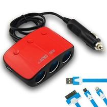 先科 AY-T11 带开关一拖三点烟器 汽车双USB一分三电源转换器 电源分配器 车载充电 红色+50CM3合1面条充电线产品图片主图