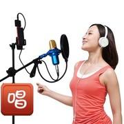HD-HYNUDAL JD-K5 手机平板唱吧车载专用苹果三星平板电脑K歌麦克风手机k歌 白色双麦
