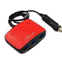 先科 T11带开关一拖三点烟器 汽车双USB一分三电源转换器 车载充电器 红色产品图片主图