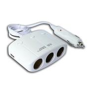 先科 T11带开关一拖三点烟器 汽车双USB一分三电源转换器 车载充电器 白色