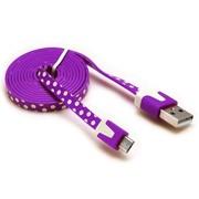 摩奇思 micro usb数据线扁线 紫色圆点