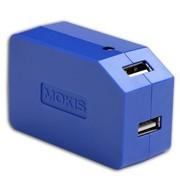 摩奇思 3.1A 双USB适配器 喷油蓝