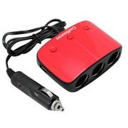 其它 酷所思09USBA车载一分三点烟器扩展 双USB万能充电器平板电脑手机充电器 红色