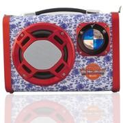 BQBQ 户外便携式背带电瓶音箱 迷你小音箱 插卡小音箱 带USB接口小音箱 青花瓷音响 红色