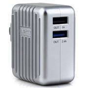 爱家 A0 双USB充电器 5V/1A和5V/2.4A; 总输出3.4A电源适配器 数码设备充电都OK
