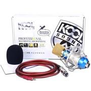 KOOL 电容麦克风笔记本电脑k歌专用yy话筒声卡录音唱吧麦克风套装 升级版蓝色