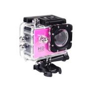 一航达 F99行车记录仪 高清防水外壳运动DV多功能数码摄像机 1080p 粉红 官方标配+16G卡