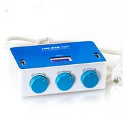 英才星 车载一分三点烟器扩展车充点烟器一拖三双USB万能充电器手机车用充电器车 YC434带开关电压检测蓝白款