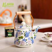 青青乐福 韩国搪瓷凉水壶冷水壶凉茶壶 出口珐琅瓷烧水壶茶壶专柜正品特价蓝花