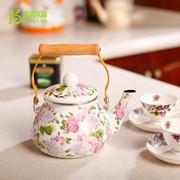 青青乐福 特惠出口珐琅瓷韩国花冷水壶凉茶壶 搪瓷烧水壶茶壶专柜正品红花