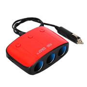 先科 带独立开关 一拖三点烟器 汽车双USB一分三电源转换器 车载充电器 AY-T11 红色