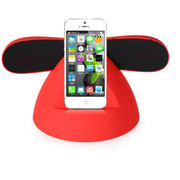 塔悦 防辐射复古电话手机蓝牙听筒 免提 蓝牙耳机无线蓝牙音箱双喇叭带充电  立体声 红 小底座