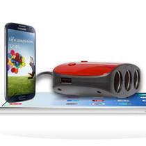 先科 汽车点烟器一拖三一分三 带开关 双USB车载充电器电源分配器 红色产品图片主图