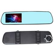 尼卡福 行车记录仪 D006 后视镜单镜头高清1080p汽车监控4.3大屏幕 蓝镜款+8G卡